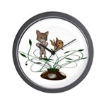 Cat Fish Bowl Wall Clock