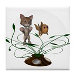 Cat Fish Bowl Tile Coaster