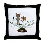 Cat Fish Bowl Throw Pillow