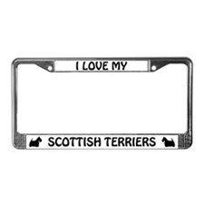 I Love My Scottish Terriers License Plate Frame