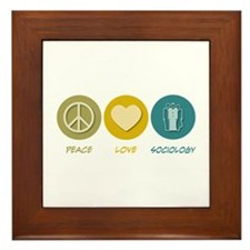 Peace Love Sociology Framed Tile