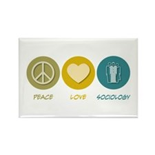 Peace Love Sociology Rectangle Magnet (100 pack)