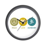 Peace Love Snowboard Wall Clock