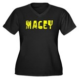 Macey Faded (Gold) Women's Plus Size V-Neck Dark T