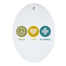 Peace Love Ski Patrol Oval Ornament