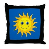 Smiling Mr. Sun Throw Pillow