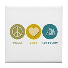 Peace Love Set Design Tile Coaster