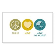 Peace Love Save the World Rectangle Sticker 50 pk