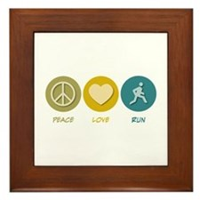 Peace Love Run Framed Tile