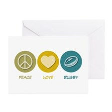 Peace Love Rugby Greeting Cards (Pk of 10)