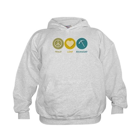 Peace Love Rockhound Kids Hoodie