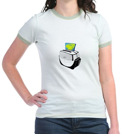 Earth Toasted. Stop Global Wa Jr. Ringer T-Shirt