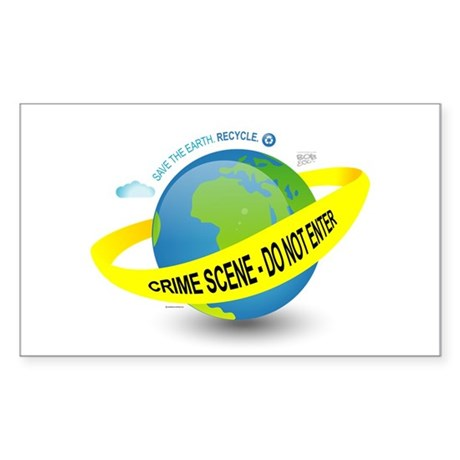 Planet Earth Crime Scene Rectangle Sticker 10 pk)
