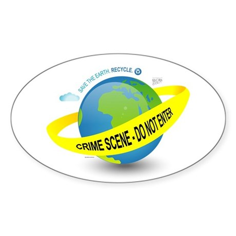 Planet Earth Crime Scene Oval Sticker (50 pk)