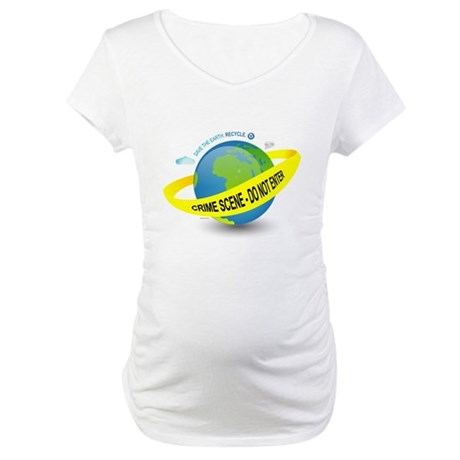 Planet Earth Crime Scene Maternity T-Shirt
