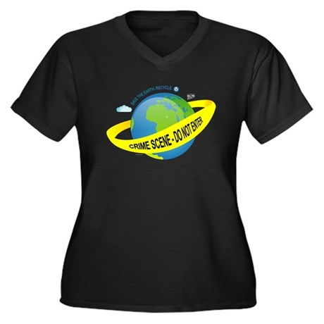 Planet Earth Crime Scene Women's Plus Size V-Neck