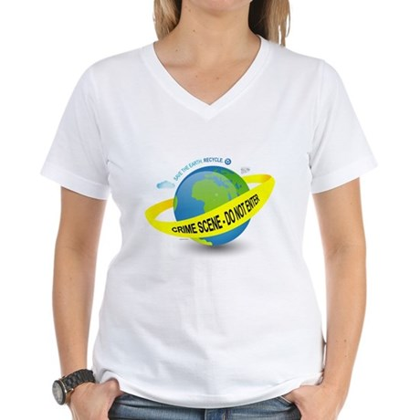 Planet Earth Crime Scene Women's V-Neck T-Shirt