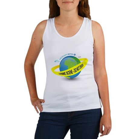 Planet Earth Crime Scene Women's Tank Top