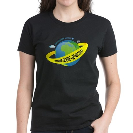 Planet Earth Crime Scene Women's Dark T-Shirt