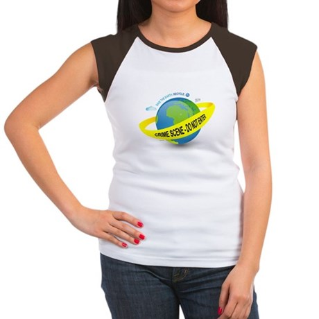Planet Earth Crime Scene Women's Cap Sleeve T-Shir
