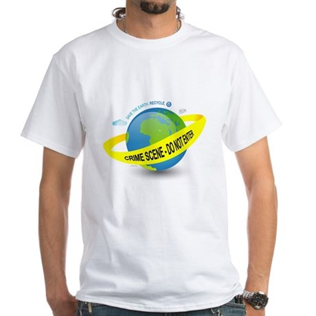 Planet Earth Crime Scene White T-Shirt