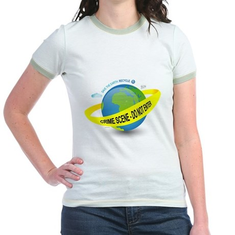 Planet Earth Crime Scene Jr. Ringer T-Shirt