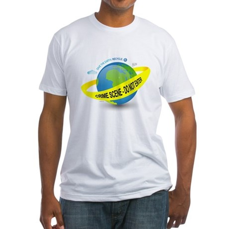 Planet Earth Crime Scene Fitted T-Shirt