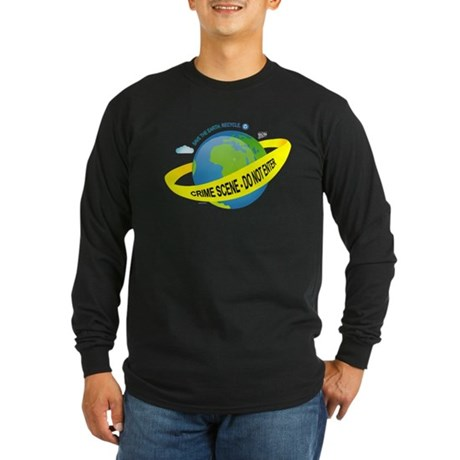 Planet Earth Crime Scene Long Sleeve Dark T-Shirt