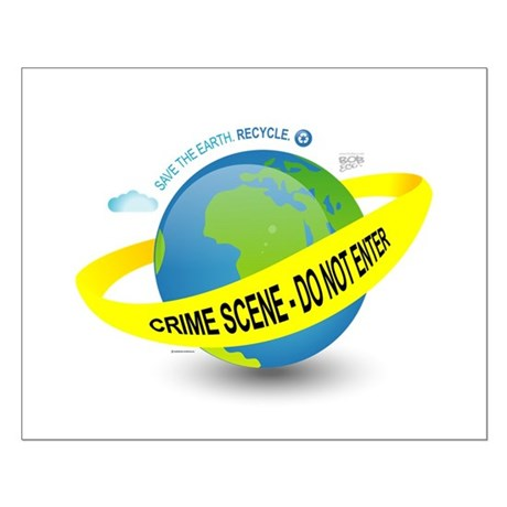 Planet Earth Crime Scene Small Poster