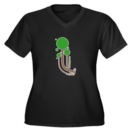 Green Thinker Women's Plus Size V-Neck Dark T-Shir