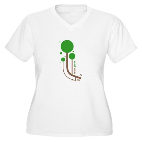 Green Thinker Women's Plus Size V-Neck T-Shirt