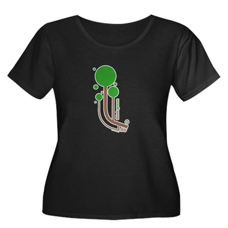 Green Thinker Women's Plus Size Scoop Neck Dark T-