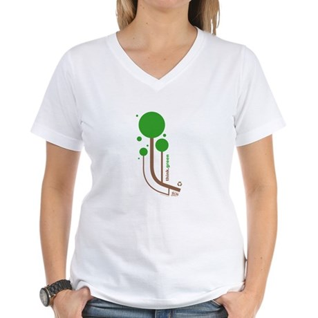 Green Thinker Women's V-Neck T-Shirt