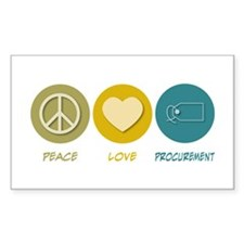 Peace Love Procurement Rectangle Decal