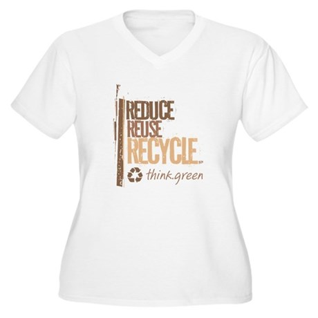 Reduce Reuse Recycle. Think G Women's Plus Size V-