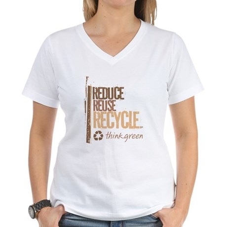 Reduce Reuse Recycle. Think G Women's V-Neck T-Shi