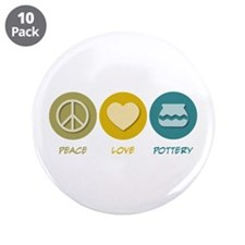 "Peace Love Pottery 3.5"" Button (10 pack)"