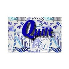 Quilt Blue Rectangle Magnet