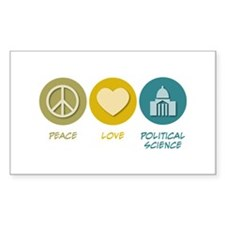 Peace Love Political Science Rectangle Sticker 50