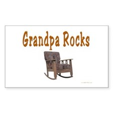 Grandpa Rocks Rectangle Decal