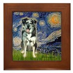 Starry / Catahoula Leopard Dog Framed Tile