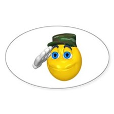Saluting Soldier Face Oval Decal