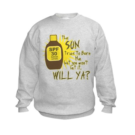 The Sun Tries to Burn Me Kids Sweatshirt