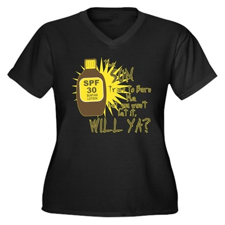 The Sun Tries to Burn Me Womens Plus Size V-Neck