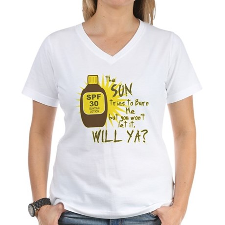 The Sun Tries to Burn Me Womens V-Neck T-Shirt