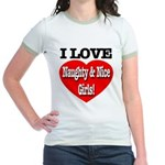 I Love Naughty & Nice Girls! Jr. Ringer T-Shirt