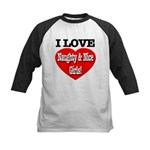 I Love Naughty & Nice Girls! Kids Baseball Jersey