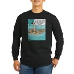 Cat on Deserted Island Long Sleeve Dark T-Shirt