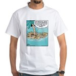 Cat on Deserted Island White T-Shirt