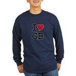 Great Britain Heart Long Sleeve Dark T-Shirt